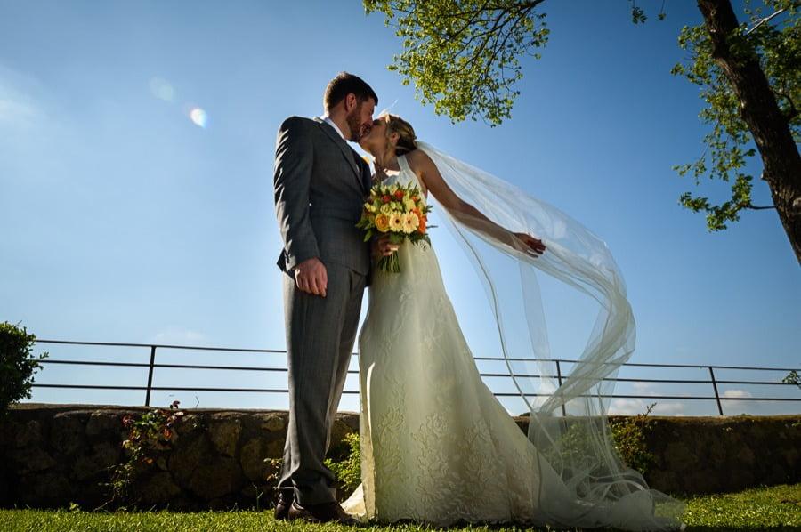 A Bride and Groom at wedding venue in Rome, Borgo Di Tragliata