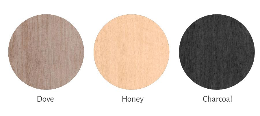 colours: Dove, Honey or Charcoal for the front panel of the Flair album cover