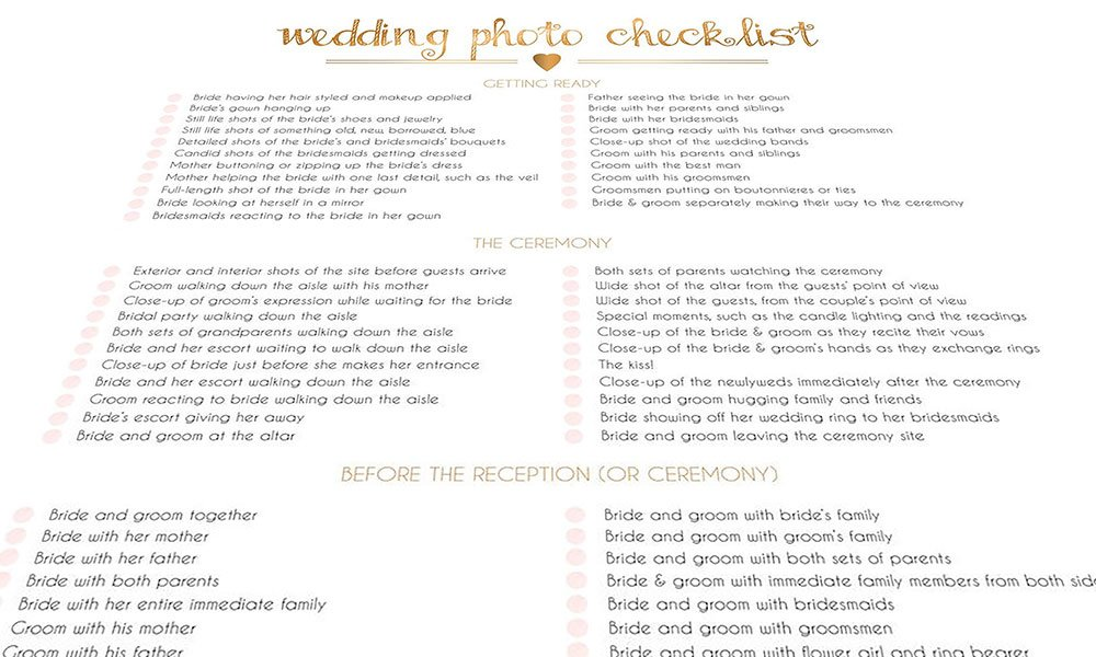 Siobhans Wedding photography checklist