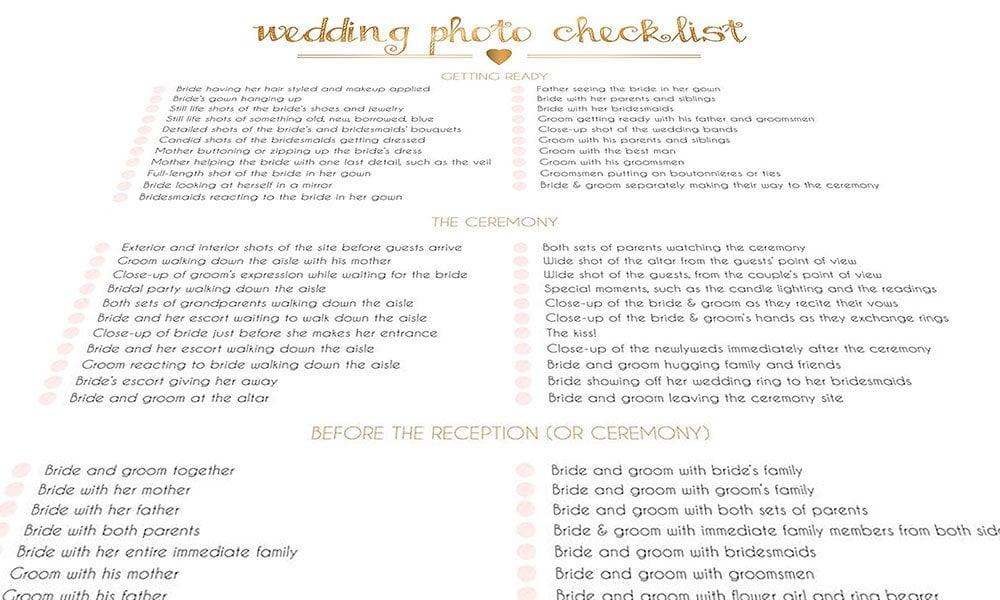 Siobhans Wedding photography checklist
